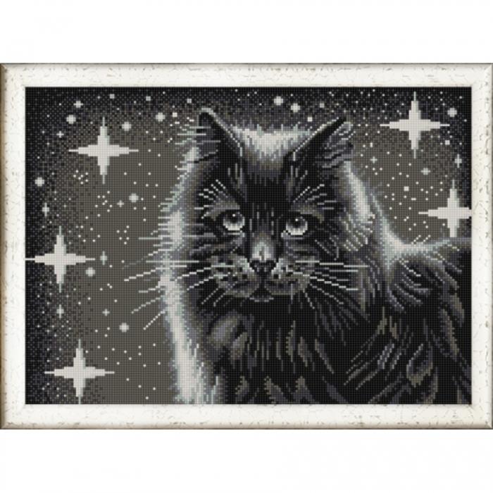 Рисунок на ткани (Бисер) КОНЁК арт. 9942 Черный кот 29х39 см
