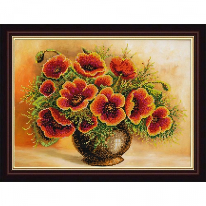 Рисунок на ткани (Бисер) КОНЁК арт. 9978 Букет маков 25х45 см