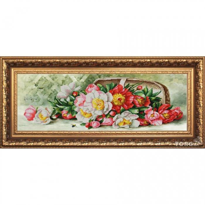 Рисунок на ткани (Бисер) КОНЁК арт. 9865 Разноцветные пионы 25х65 см