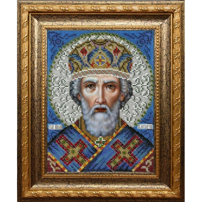Набор для вышивания бисером ВЫШИВАЕМ БИСЕРОМ арт.L148 Святой Николай Чудотворец 19х25см