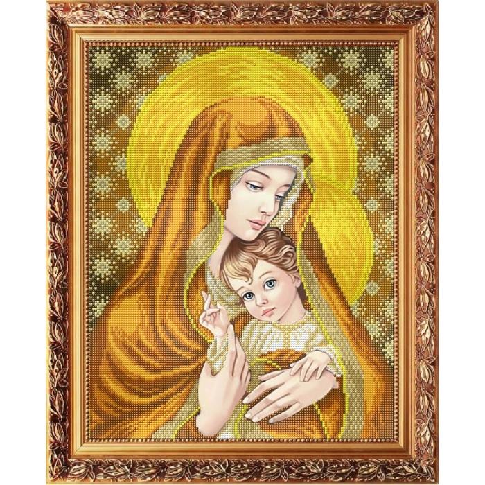 Рисунок на габардине СЛАВЯНОЧКА арт. ААМА-3007 Богородица с младенцем в золоте 28х38 см