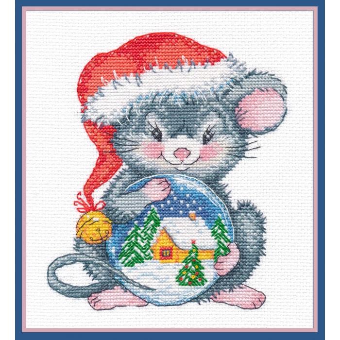 Набор для вышивания ОВЕН арт. 1254 Мышонок с шаром 14х15см
