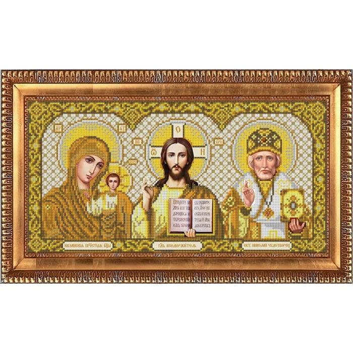 Рисунок на габардине бисером БЛАГОВЕСТ арт.И-3003 Триптих в золоте 20х39 см