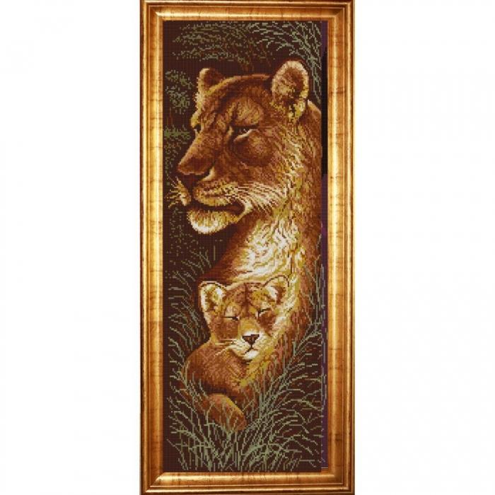 Рисунок на ткани (Бисер) КОНЁК арт. 1308 Звери. Мать и дитя 3 25х65 см