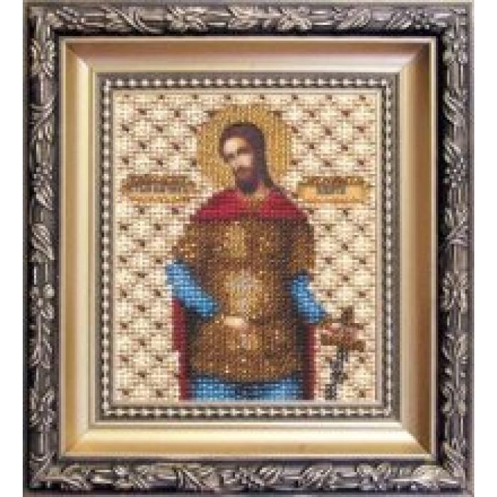 Набор для вышивания бисером ЧАРИВНА МИТЬ арт.Б-1094 Икона святому великомученику Никите 9х11 см