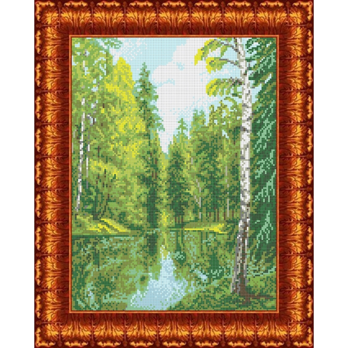 Канва с нанесенным рисунком КАРОЛИНКА арт. КК-026 Озеро в лесу 23х30 см