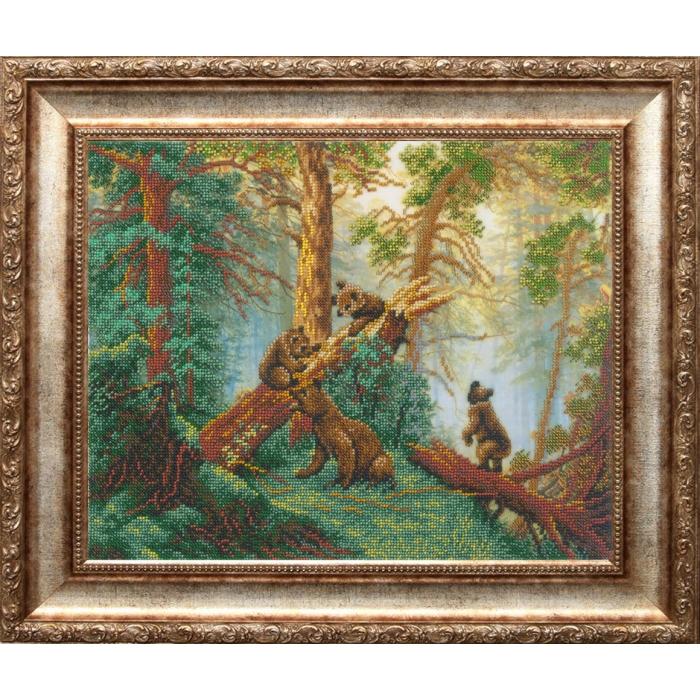 Набор для вышивания бисером РУССКАЯ ИСКУСНИЦА арт.2001 Мишки в сосновом лесу 27х38 см