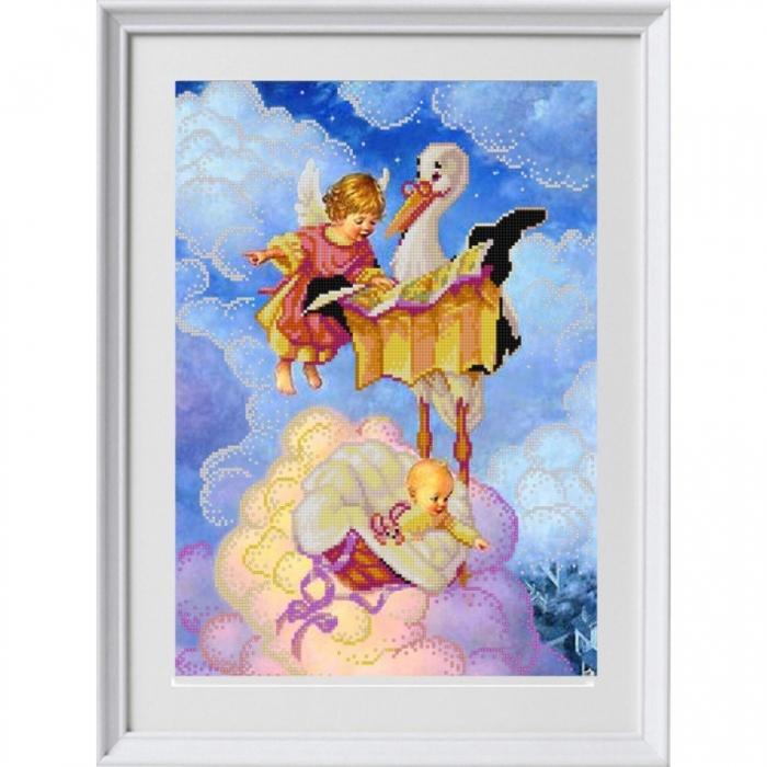 Рисунок на ткани (Бисер) КОНЁК арт. 1320 Подарок от аиста 29х39 см