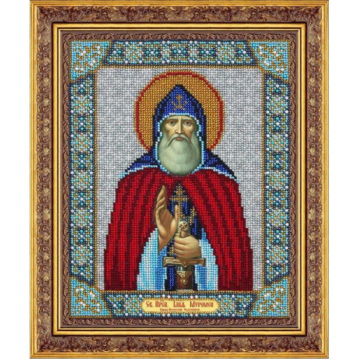 Набор для вышивания бисером ПАУТИНКА арт.Б-1060 Св.Илья Муромец 20х25 см