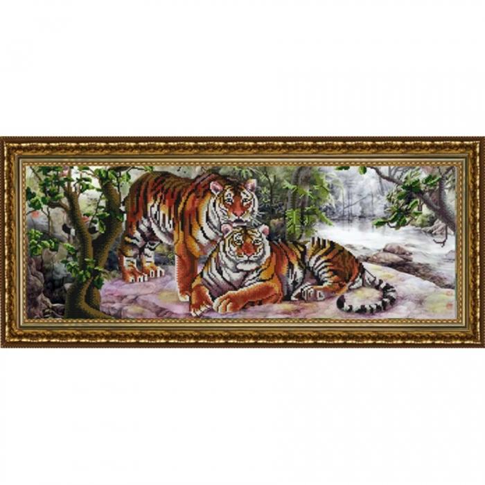 Рисунок на ткани (Бисер) КОНЁК арт. 9903 Амурские тигры 25х65 см
