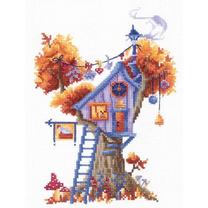 Набор для вышивания СДЕЛАЙ СВОИМИ РУКАМИ арт.Д-20 Домики на дереве. Загадочный 13х18 см