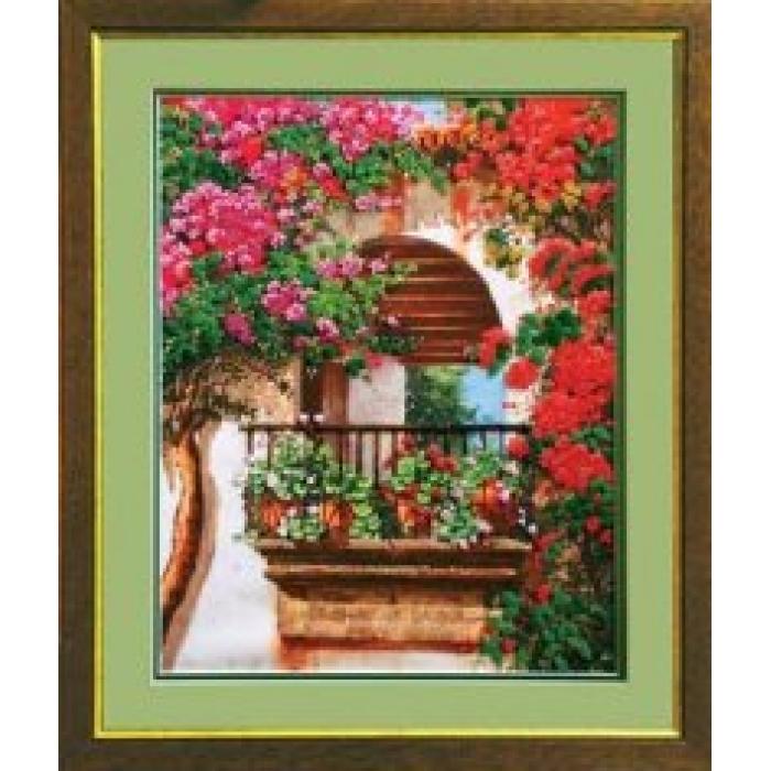 Набор для вышивания бисером ЧАРИВНА МИТЬ арт.Б-563 Цветы на балконе 29х36,5 см