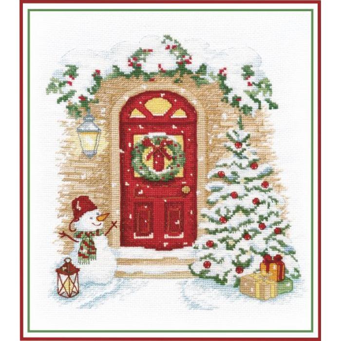 Набор для вышивания ОВЕН арт. 1249 Праздник в дверь стучится 21х19см