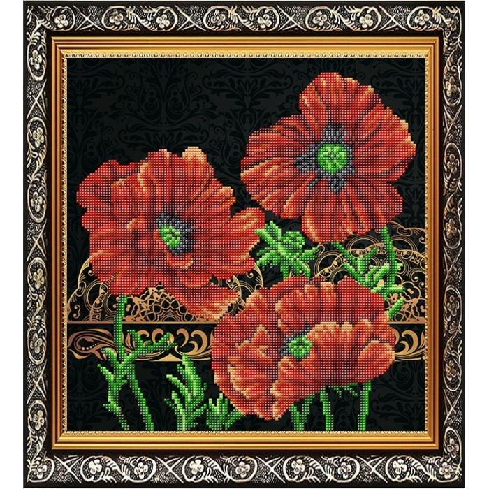 Рисунок на габардине СЛАВЯНОЧКА арт. ААМА-313 Маки 28х38 см