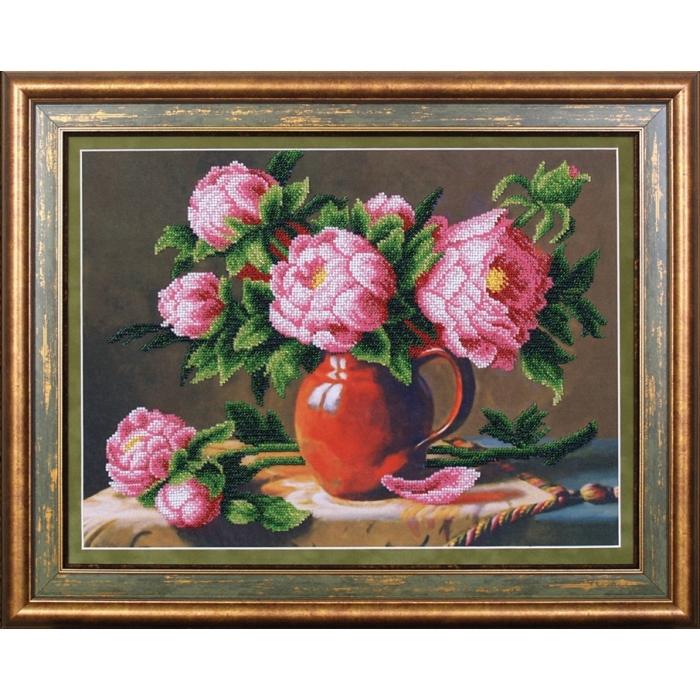 Набор для вышивания бисером МАГИЯ КАНВЫ арт.Б054 Розовые пионы 38х28,5 см