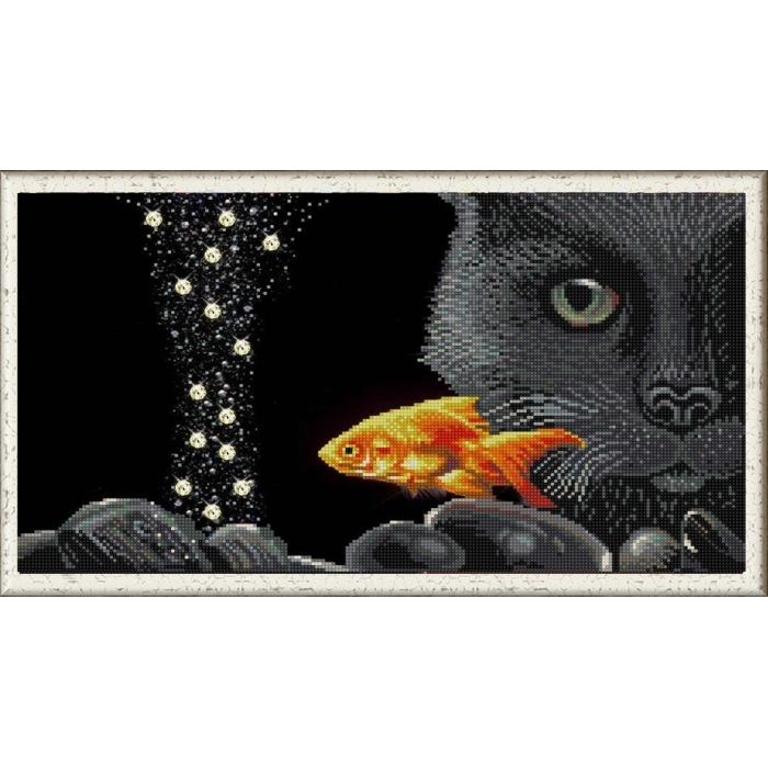 Рисунок на ткани (Бисер) КОНЁК арт. 1332 Кот и золотая рыбка 25х45 см