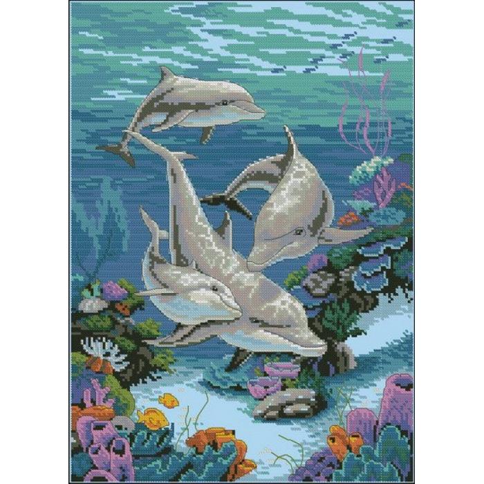 Набор для вышивания DIMENSIONS арт.DMS-03830 Дельфинье царство 25х36 см