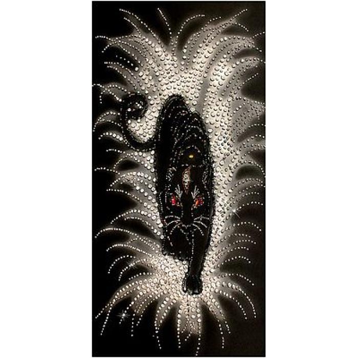 Набор для вышивания хрустальными бусинами ОБРАЗА В КАМЕНЬЯХ арт. 5523 Черная Пантера 34х67,5 см