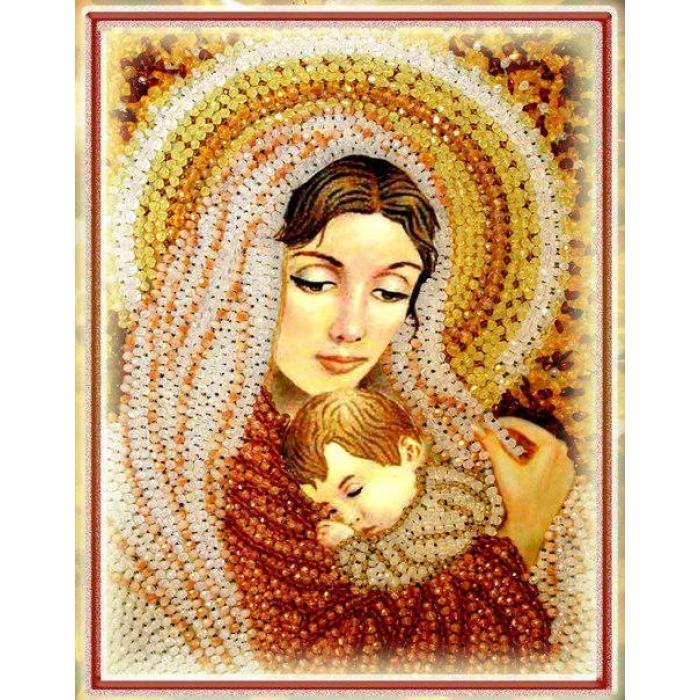 Набор для вышивания хрустальными бусинами ОБРАЗА В КАМЕНЬЯХ арт. 5521 Дева Мария 28х20,5 см