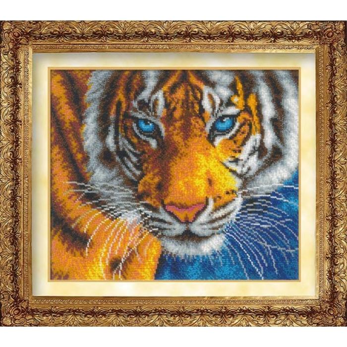 Набор для вышивания бисером РУССКАЯ ИСКУСНИЦА арт.1016 Взгляд тигра 31х26 см