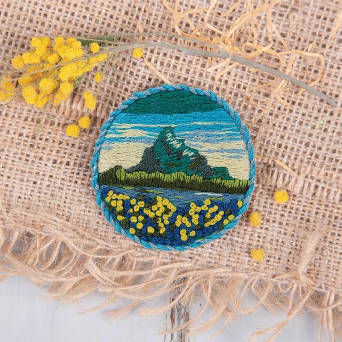"""Набор для вышивания PANNA """"Живая картина"""" арт. JK-2144 Брошь. Горные цветы 5,5х5,5 см"""