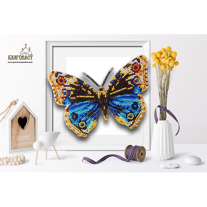 Набор для вышивки бисером 3-D БЛАГОВЕСТ арт.Б-102 Бабочка Junonia Orithya 14,5х11 см