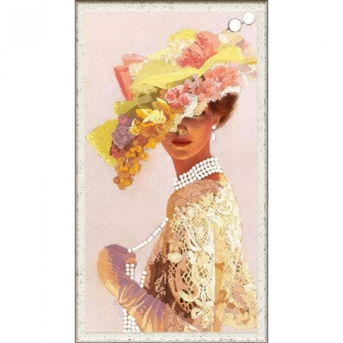 Рисунок на ткани (Бисер) КОНЁК арт. 8438 Дама с бусами 25х45 см