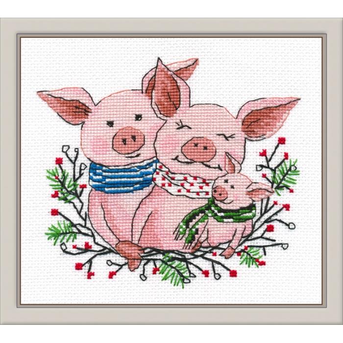 Набор для вышивания ОВЕН арт. 1077 Семейное счастье 14х12 см