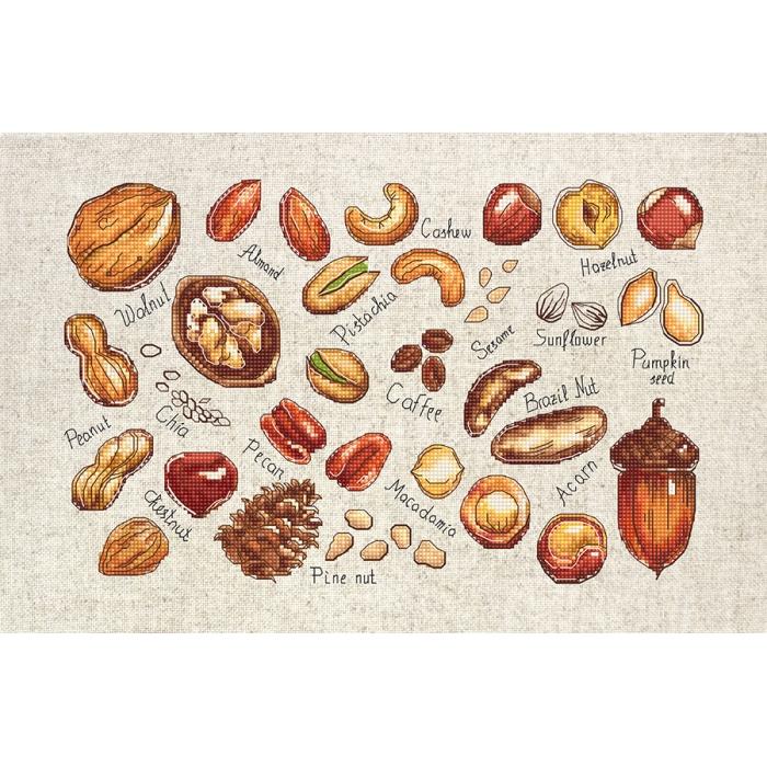 Набор для вышивания LUCA-S арт. B1165 Орехи и семена 31,5х20 см