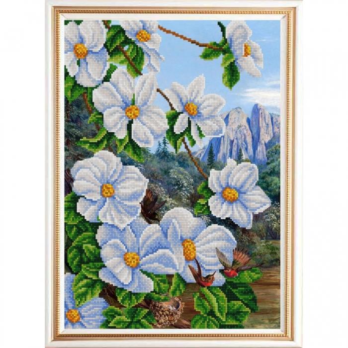 Рисунок на ткани (Бисер) КОНЁК арт. 9963 Экзотические цветы 2 29х39 см