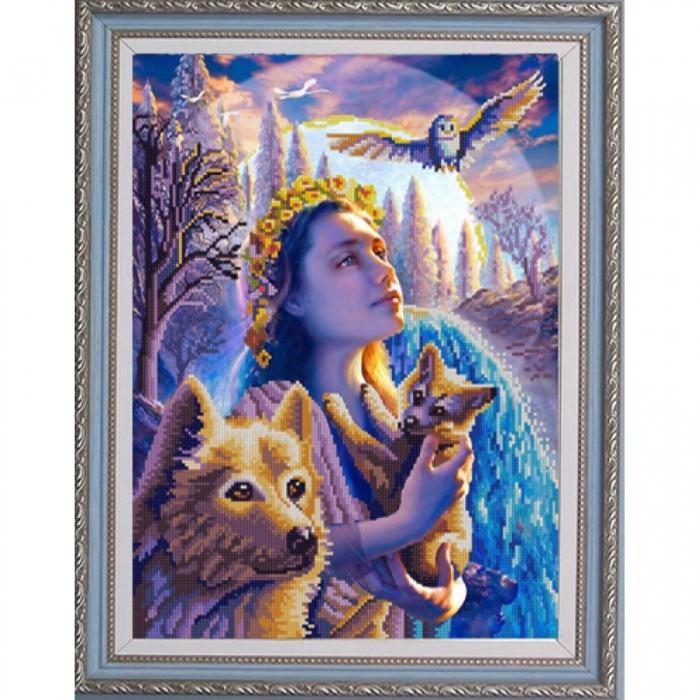 Рисунок на ткани (Бисер) КОНЁК арт. 9990 Восход в лесу 29х39 см