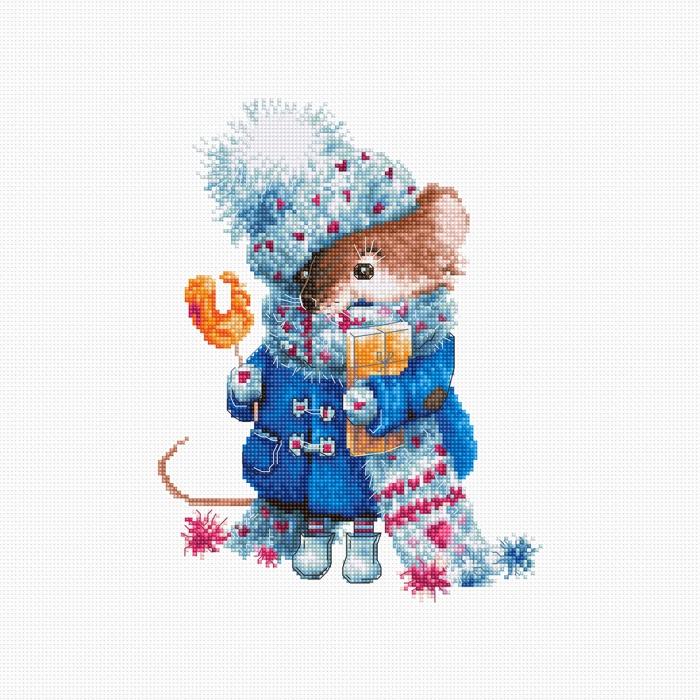 Набор для вышивания LUCA-S арт. B1168 Рождественская мышь 21х16 см