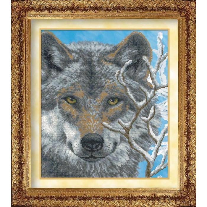 Набор для вышивания бисером РУССКАЯ ИСКУСНИЦА арт.1018 Волк 31х26 см
