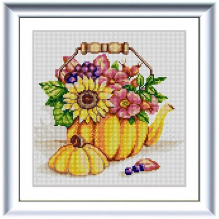 Рисунок на ткани (Бисер) КОНЁК арт. 1321 Тыквенный чайник 25х25 см