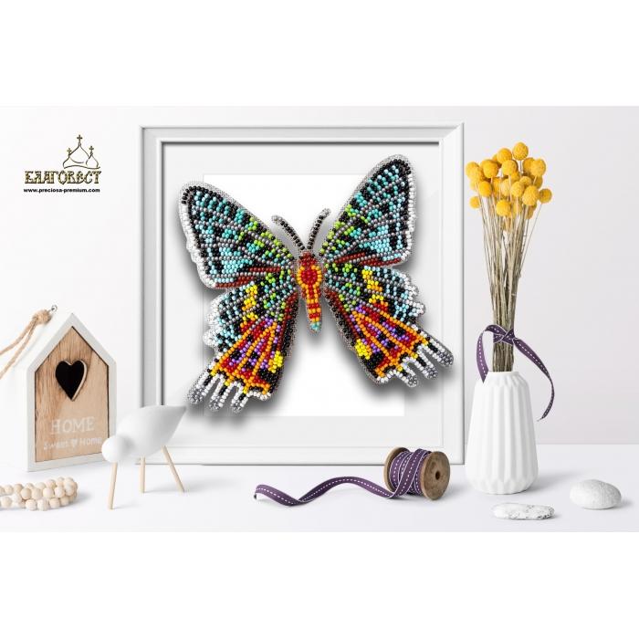 Набор для вышивки бисером 3-D БЛАГОВЕСТ арт.Б-035 Бабочка Chrysiridia Madagascarensis Male 13,5х12 см