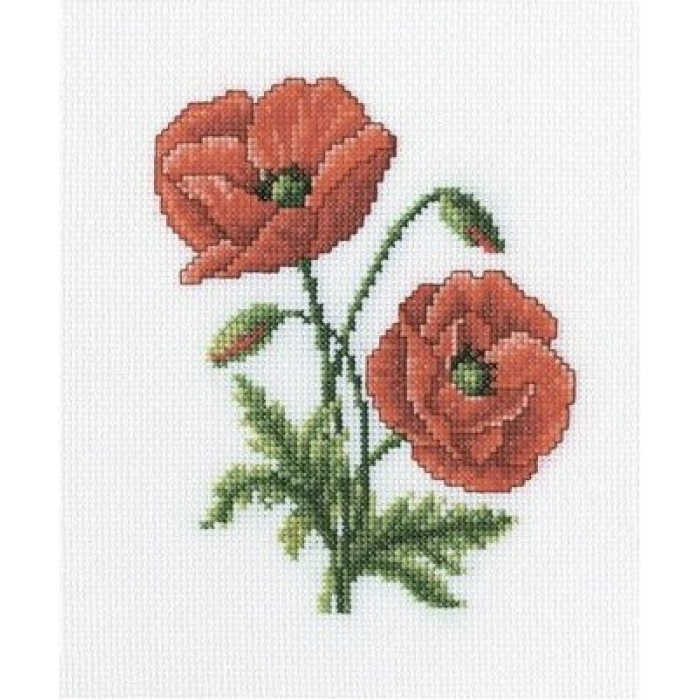 Набор для вышивания РТО арт.C182 Алые маки 13х17 см