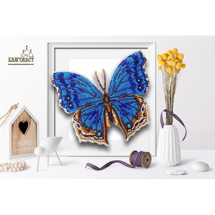 Набор для вышивки бисером 3-D БЛАГОВЕСТ арт.Б-103 Бабочка Salamis Temora 14,5х13 см