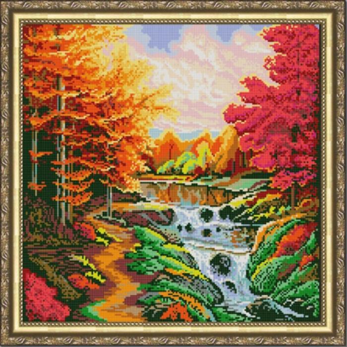 Рисунок на ткани (Бисер) КОНЁК арт. 9975 Осенний каскад 40х40 см