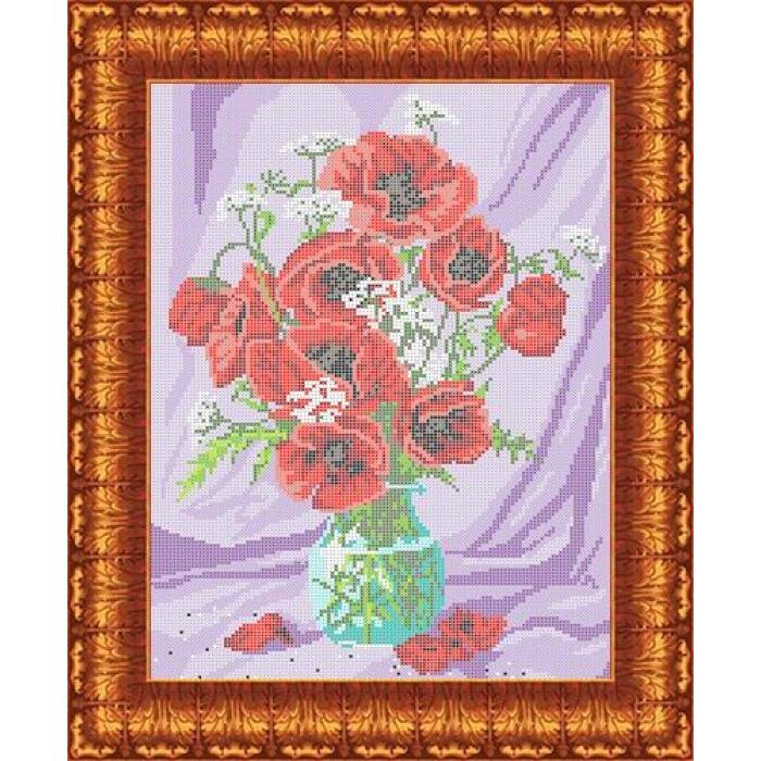 Канва с нанесенным рисунком КАРОЛИНКА арт. КК-008 Маки в вазе 23х31 см