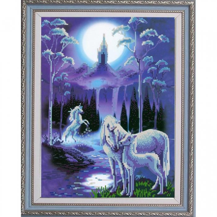 Рисунок на ткани (Бисер) КОНЁК арт. 9864 Лунная ночь 29х39 см