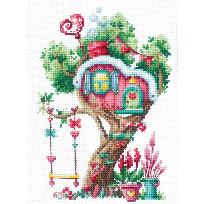 Набор для вышивания СДЕЛАЙ СВОИМИ РУКАМИ арт.Д-21 Домики на дереве. Сладкий 12х17,5 см