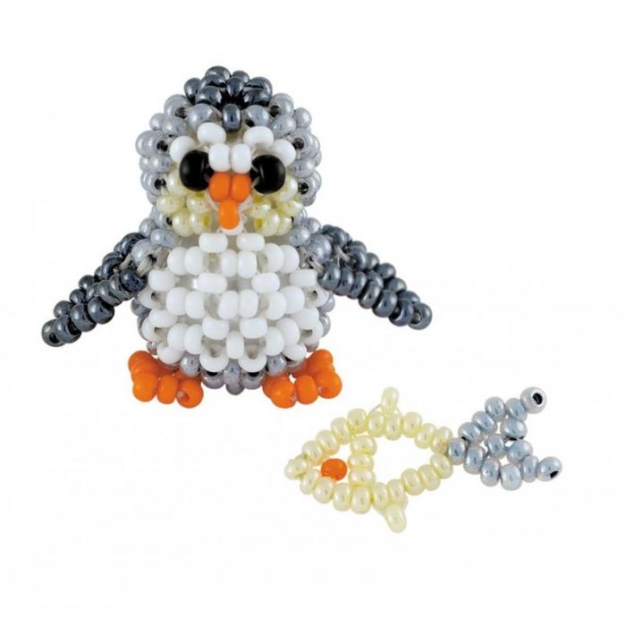 Набор для бисероплетения РИОЛИС арт.В187 Пингвинёнок с рыбкой 2,5х2,5 см и 2 см