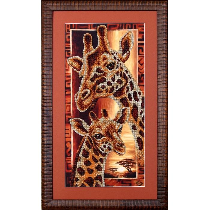 Набор для вышивания бисером МАГИЯ КАНВЫ арт.Б057 Африка Жирафы 22х46 см