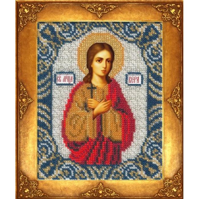 Набор для вышивания бисером РУССКАЯ ИСКУСНИЦА арт.208 БИ Св. Вера 12,5х16,3 см
