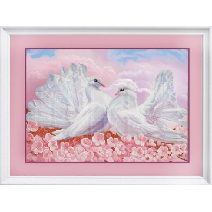 Рисунок на ткани (Бисер) КОНЁК арт. 1279 Любовь и голуби 29х39 см
