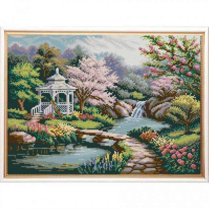 Рисунок на ткани (Бисер) КОНЁК арт. 1239 Беседка в саду 29х39 см