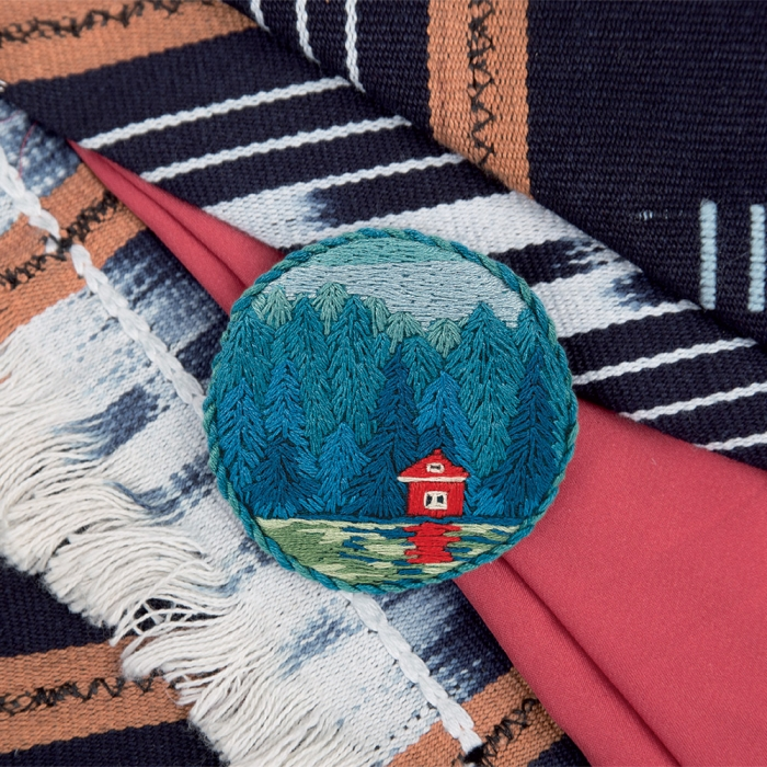 """Набор для вышивания PANNA """"Живая картина"""" арт. JK-2145 Брошь. Дом у озера 5,5х5,5 см"""