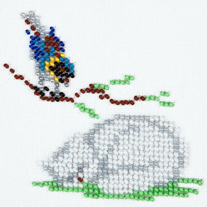 Набор для вышивания бисером LOUISE арт. L456 Синица и кот 11х11 см