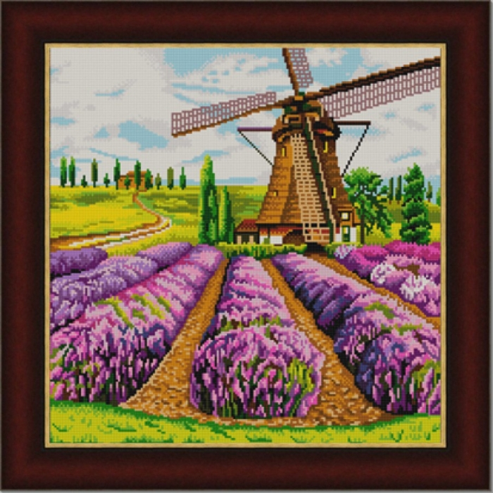 Рисунок на ткани (Бисер) КОНЁК арт. 9916 Мельница 40х40 см