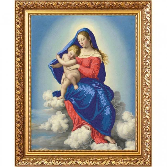 Рисунок на ткани (Бисер) КОНЁК арт. 8465 Мадонна с Младенцем в славе 29х39 см